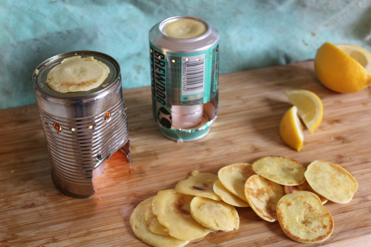 Mini Pancakes on a Tin Can Stove
