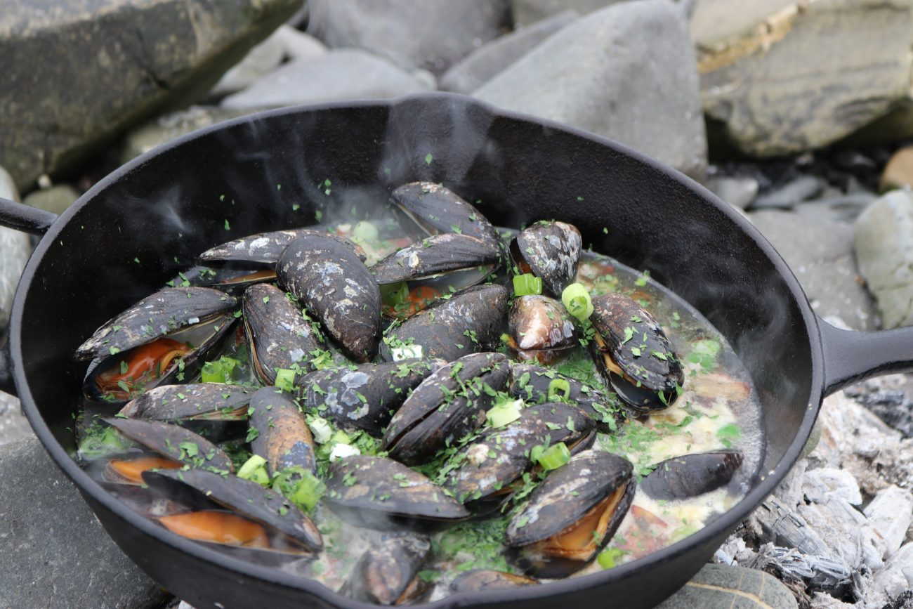 Cast Iron Mussels with Cider and Pancetta